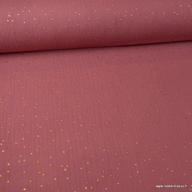 Tissu Double gaze coton Glitter à pois or coloris Framboise - oeko tex