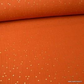 Tissu Double gaze coton Glitter à pois or coloris Rouille - oeko tex