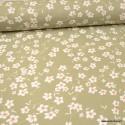 Tissu coton imprimé fleurs Amandier fond Sauge - Oeko tex