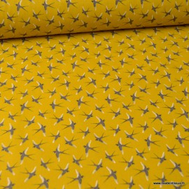Tissu coton imprimé oiseaux fond Peanut - Oeko tex