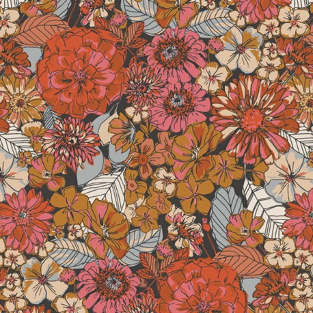 Tissu Popeline coton Motifs fleurs rose, collection Kismet  pour Art Gallery Fabrics - Oeko tex