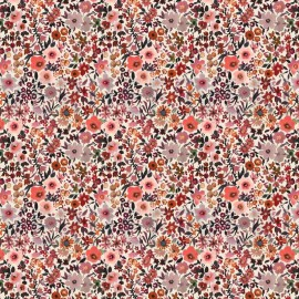 Tissu popeline Poppy motifs Fleurs automnales - Oeko tex