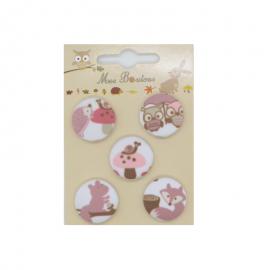 Boutons sur carte motifs animaux Vieux rose