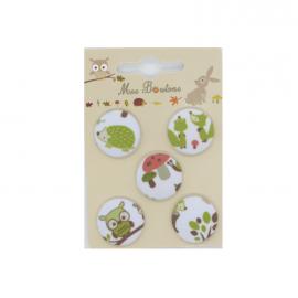 Boutons sur carte motifs animaux Vert