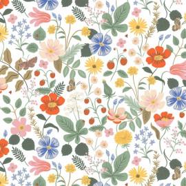 Tissu coton imprimé fleurs et papillons fond Blanc Cotton and Steel - Rifle Paper - Strawberry Fields