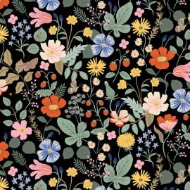 Tissu coton imprimé fleurs fond Noir Cotton and Steel - Rifle Paper - Strawberry Fields