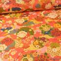 Tissu coton motifs fleurs Ikebana Corail - Oeko tex
