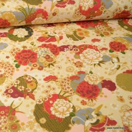 Tissu coton motifs fleurs Ikebana Ivoire - Oeko tex