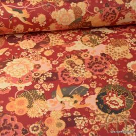 Tissu coton motifs fleurs Ikebana Rouge - Oeko tex