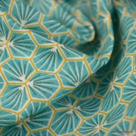 Tissu coton Riad Enduit coloris Lagon Oeko tex