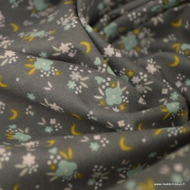 Tissu coton Flomi imprimé petites fleurs fond gris souris -  Oeko tex