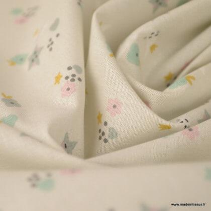Tissu coton Flomi imprimé Lunes, étoiles et coeurs fond grège -  Oeko tex