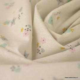 Tissu coton Sins imprimé Lunes, étoiles et coeurs fond grège -  Oeko tex