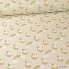 Tissu coton Lily motifs têtes de Licornes fond Grège - oeko tex