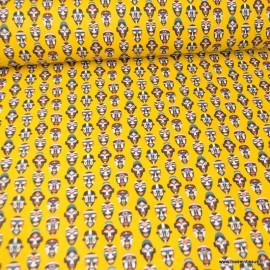 Tissu coton imprimé masques Africains fond jaune - Oeko tex