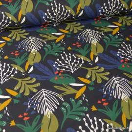 Tissu coton Amedisa motifs feuilles fond Marine - Oeko tex