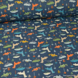 Tissu coton imprimé Dinosaures fond Pétrole - Oeko tex