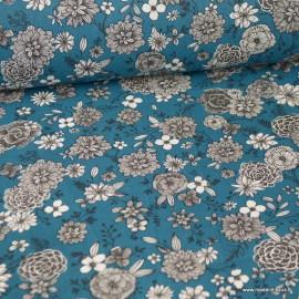Tissu coton Floral motifs fleurs Océan - Oeko tex
