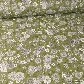 Tissu coton Floral motifs fleurs Kaki - Oeko tex