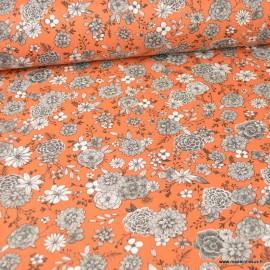 Tissu coton Floral motifs fleurs Paprika - Oeko tex