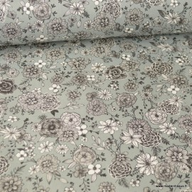 Tissu coton Floral motifs fleurs Gris - Oeko tex