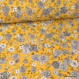 Tissu coton Floral motifs fleurs Curry - Oeko tex