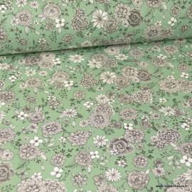 Tissu coton Floral motifs fleurs Amande - Oeko tex