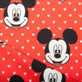 Tissu Disney  jersey French terry Oeko tex motifs Mickey fond Rouge