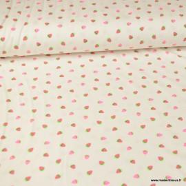 Tissu jersey Oeko tex à rayures motifs Fraises
