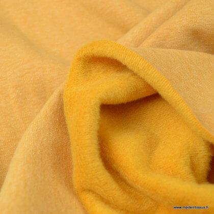 Tissu Sweat envers Minky moutarde chiné