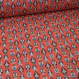 Tissu coton imprimé masques Africains fond Rouge - Oeko tex