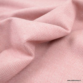 Tissu Lainage aspect drap de laine à chevrons coloris Vieux rose