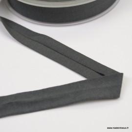 Biais jersey gris anthracite 18 mm