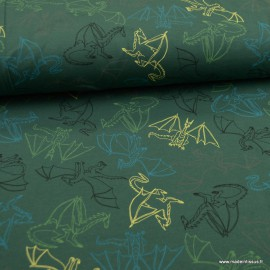 1 COUPON Tissu jersey French terry Oeko tex motifs dragons fond vert