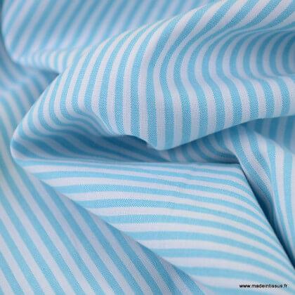 Tissu Popeline coton rayures Turquoise et blanches tissé teint - Oeko tex