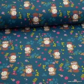 1 coupon de 64 cm de Tissu jersey motifs Hiboux fond pétrole - Oeko tex