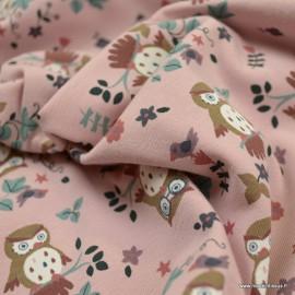 Tissu jersey motifs Hiboux fond Vieux rose - Oeko tex
