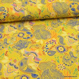 Tissu jersey Oeko tex motifs Cachemires fond jaune - Oeko tex