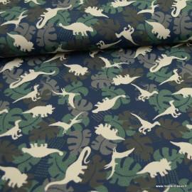 Tissu jersey Oeko tex motifs dinosaures fond marine