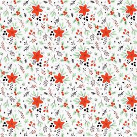 Tissu Popeline motifs fleurs d'hiver, collection Reindeer Lodge - Camelot Fabrics