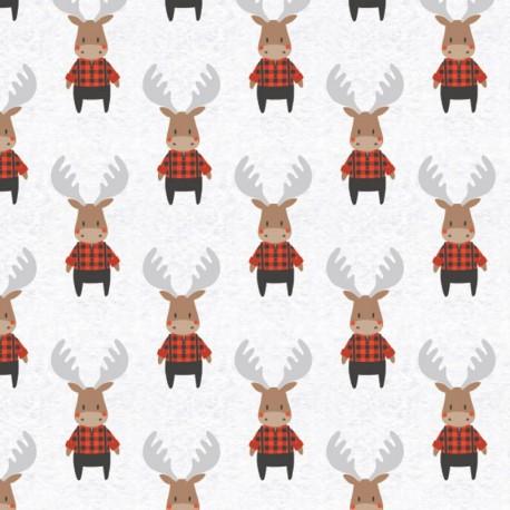 Tissu Popeline motifs rênes en chemise à carreaux, collection Reindeer Lodge - Camelot Fabrics
