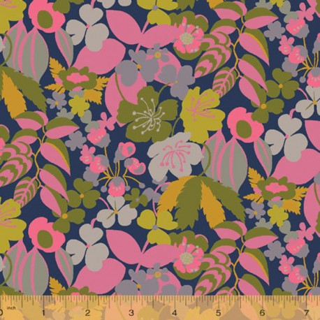 Tissu Popeline coton fleurs fond marine Solstice - Windham Fabrics - Oeko tex