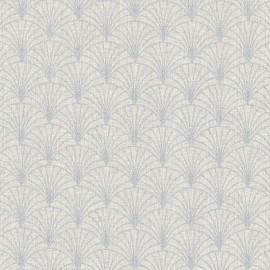 Tissu toile aspect lin motifs éventails Lurex Argent fond naturel - Oeko tex