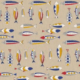 Tissu toile aspect lin motifs Poissons - Oeko tex