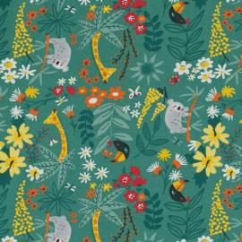 Tissu toile aspect lin motifs Jungle fond vert - Oeko tex