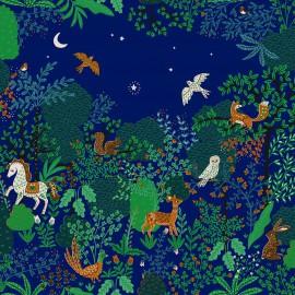 Tissu toile aspect lin motifs Forêt fond pétrole - Oeko tex