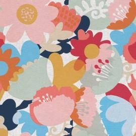 Tissu toile natté motifs grosses fleurs roses, jaunes et bleues - Oeko tex