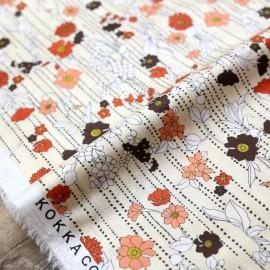 Tissu popeline satinée Kokka Retro Flower - beige