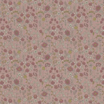 Tissu toile aspect lin motifs fleurs sur tiges fond rose - Oeko tex