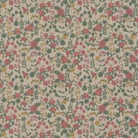 Tissu toile aspect lin motifs fleurs vertes et roses sur tige - Oeko tex